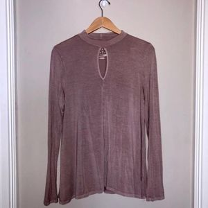 Blush Pink Keyhole Front Long  Sleeve Top